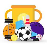 Composición de juegos deportivos con copa, pelotas: fútbol, tenis, bolos, baloncesto. zapatos de patinaje sobre hielo y disco, etc.Equipo deportivo ilustración de vector de diseño de estilo plano aislado en blanco.