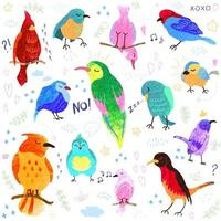 Vector colorful set with illustrations of cute birds isolated on white background. Can be used as elemets for your design for greeting cards, nursery, poster, card, birthday party, packaging paper design, baby t-shirts prints