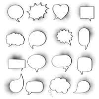 Forma de semitono de diseño de estilo plano de 16 burbujas de discurso sin textos estilo de historieta cómica dibujada a mano conjunto ilustración vectorial aislado sobre fondo blanco. formas redondas, de nubes, cuadradas, de corazón, rectangulares, etc. vector