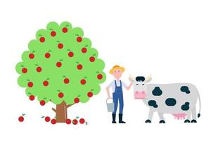 Landscape elements set with black white spotted cow stand with grass mouth near farmer and fruit tree with apples flat style vector illustration.
