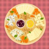 Vector colorful illustration set of cheeses on wooden plate.