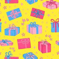 Vector modern seamless pattern with colorful hand draw illustration of christmas gifts. For wallpaper, textile print, pattern fills, web page, surface textures, wrapping paper, design of presentation