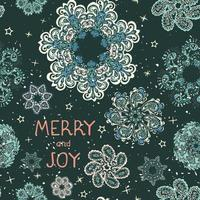 Vector modern greeting card with colorful hand draw illustration of snowflakes. Merry christmas. Use it as elements for design poster, card, fills, web page, wrapping paper, design of presentation