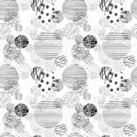 Vector modern black and white seamless background with hand drawn abstract round elements, doodles. Use it for wallpaper, textile print, pattern fill, web, texture, wrapping paper, design presentation