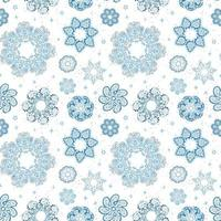 Vector modern seamless pattern with colorful hand draw illustration of snowflakes. Use it for wallpaper, textile print, fills, web page, surface textures, wrapping paper, design of presentation