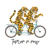 The tigers ride a tandem bike. Vector illustration on a white background. Children card, sticker, party invitation, print for teenager clothes.