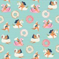Flamingo, unicorn, swan and sweet donut inflatable swimming pool floats. Vector seamless pattern.