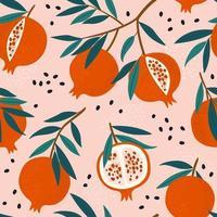 Pomegranate leaf seamless pattern. Red garnet seamless pattern vector illustration. Vector illustration of pomegranate fruit. Garnet vector.