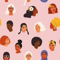 Diverse women face seamless pattern with different culture girl portrait in a hand-drawn style. Women's rights event background concept includes black, Asian, caucasian. vector