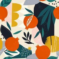 Collage contemporary floral seamless pattern. Modern fruits pomegranate spots, and plants illustration vector. vector