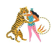 The circus tiger dancing with the woman holding a fiery ring. Enjoy the show. Illustration on white background. vector