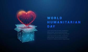 Low poly Abstract open box and heart vector