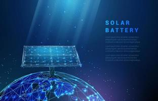 Abstract blue solar battery on planet earth, panel, renewable energy vector