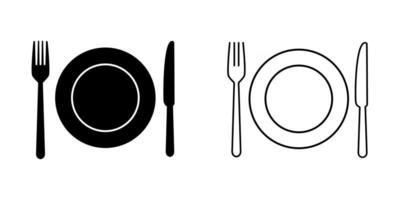 conjunto de icono de plato, tenedor y cuchillo vector