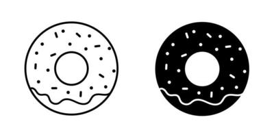 Set of black donut icons vector