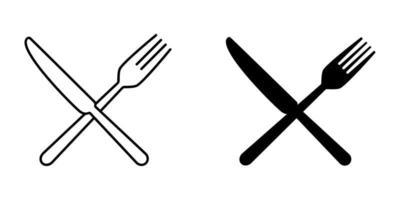 conjunto de iconos de tenedor y cuchillo vector