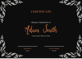 template cerficate with black background vector