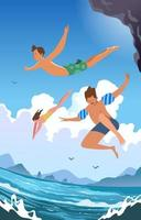 Swimming at the Beach during Summer vector
