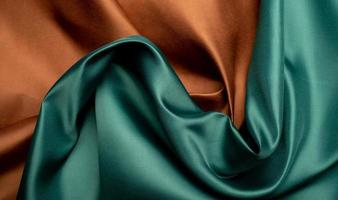 Green and brown fabric texture background photo