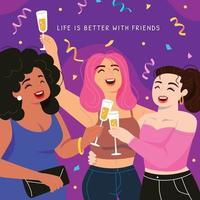 Girlfriends Having Party vector