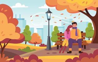 pareja encantadora en el parque de la ciudad de otoño vector