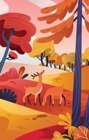 Two Deer Enjoying Fall Season in the Field vector