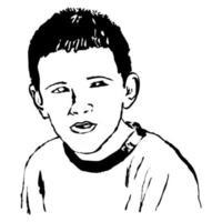 Sketchy Ink Portrait of a Boy vector