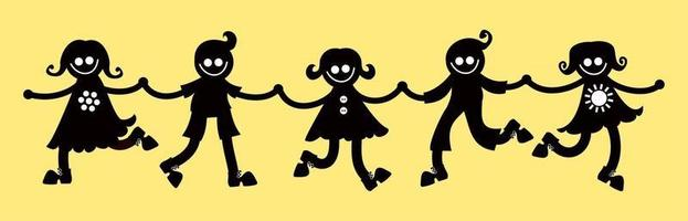Happy Silhouette Kids Holding Hands vector
