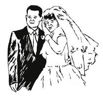 Bride and Groom Sketch Illustration vector