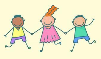 Happy Kids Holding Hands vector