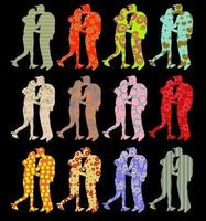 Patterned Kissing Couple Silhouettes vector
