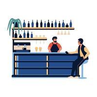 gente en el bar café. barista, barman, hacer, bebida, en, barra de bar, escena vector
