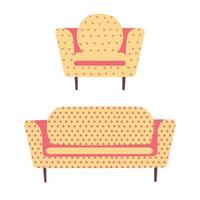 Modern sofa armchair and couch. Interior design Home and office. vector