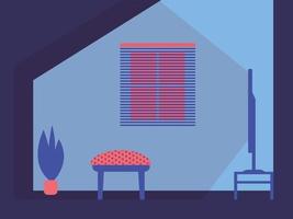 Interior design home. TV, armchair, plant, window vector