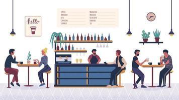gente en el bar cafetería, pareja de dibujos animados, hombre y mujer relajándose y sentados en las mesas en una cita con bebida y café. personajes planos de dibujos animados. barista barman haciendo bebida en el interior de la barra de bar. vector