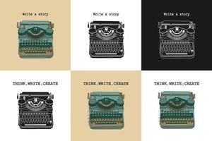 Set of 6 vintage cards with typewriters. vector
