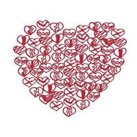 Romantic collection with 4 cards doodle vector
