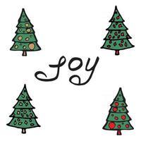 Cartoon fir-tree Christmas tree. Greeting card - joy. vector