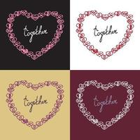 Romantic collection with 4 cards vector