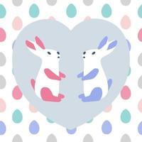Cute bunnies rabbits greeting card template vector