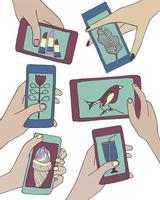 Set of Hands holding smartphones with various images. Vector illustration