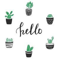 Vector cactus illustration with lettering Hello. Cute hand drawn