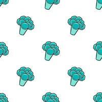 Seamless pattern Broccoli hand drawn vector illustration