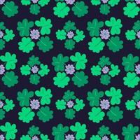 Blooming clover Seamless pattern with trefoil and four-leaf. vector