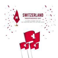 Switzerland Independence Day Celebration, Poster, banner set Design for printing Vector Template Illustration