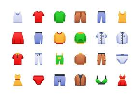 Fashion and Clothing Gradient Icon Set vector