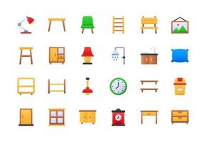 Furniture and Household Gradient Icon Set vector