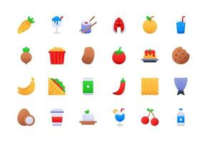 Food and Drinks Gradient Icon Set vector