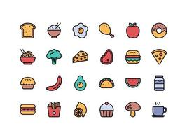 Food and Drinks Lineal Color Icon Set vector