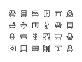 Furniture and Household Outline Items Icon Set vector